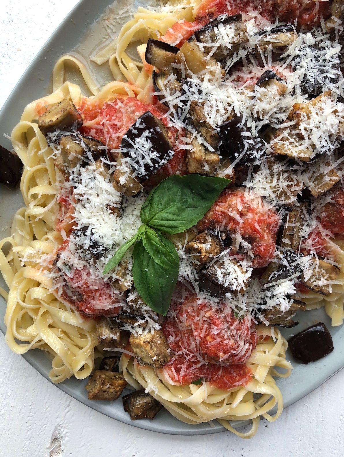 Eggplant Pasta with Meatballs