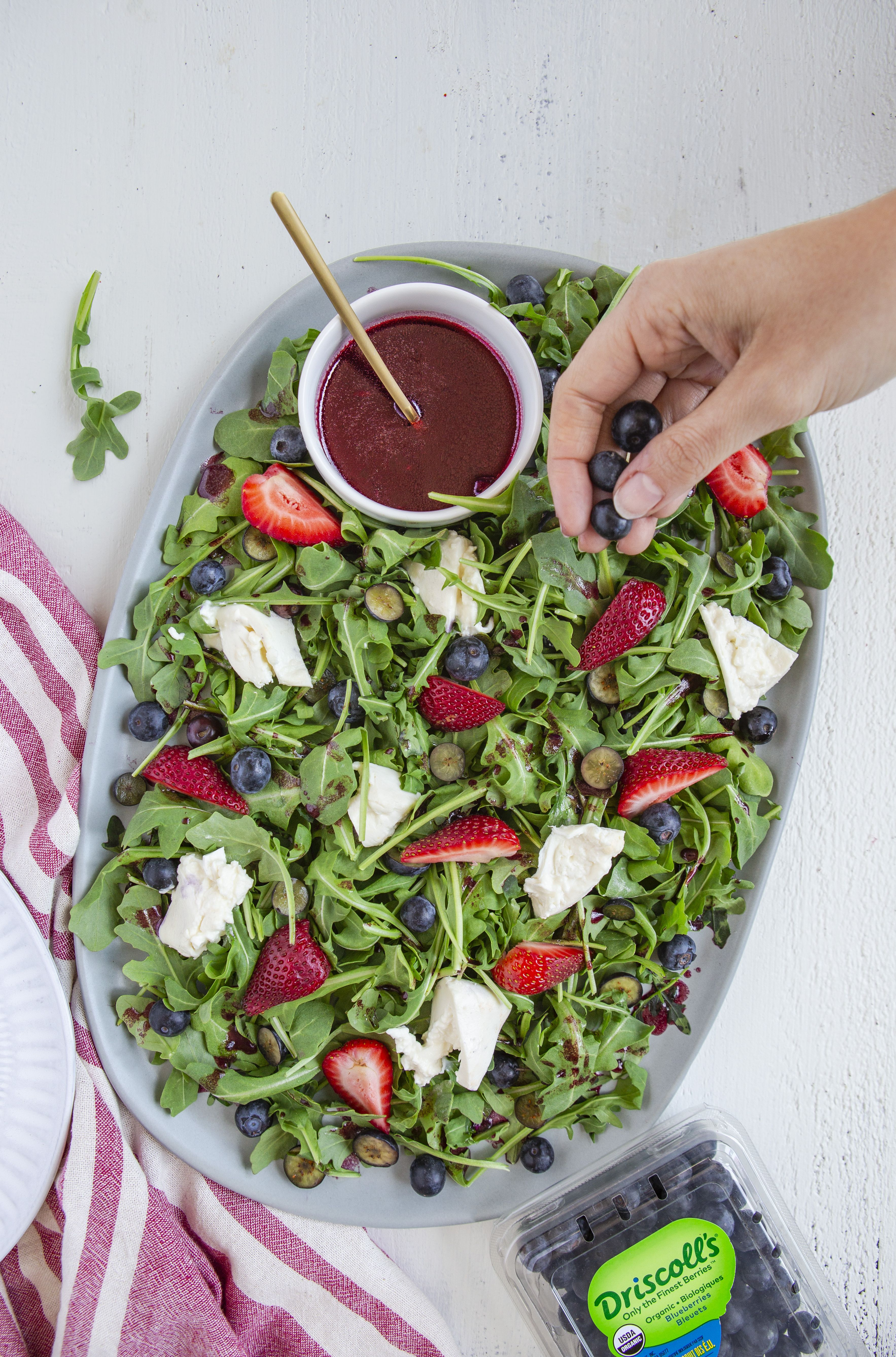 Red White and Burrata Salad with Blueberry Vinaigrette