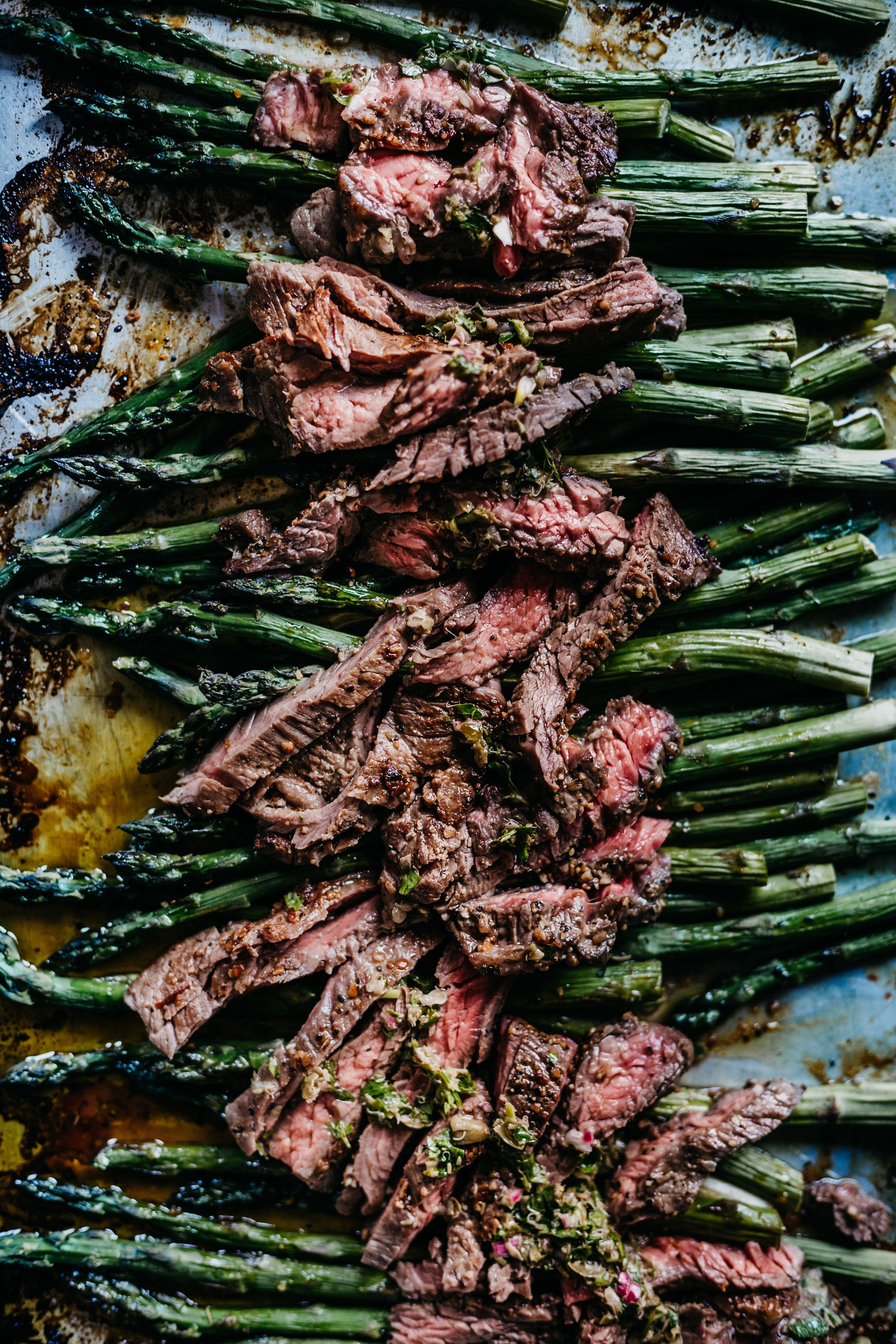 Buttery-Garlic Steak with Asparagus and Salsa Verde