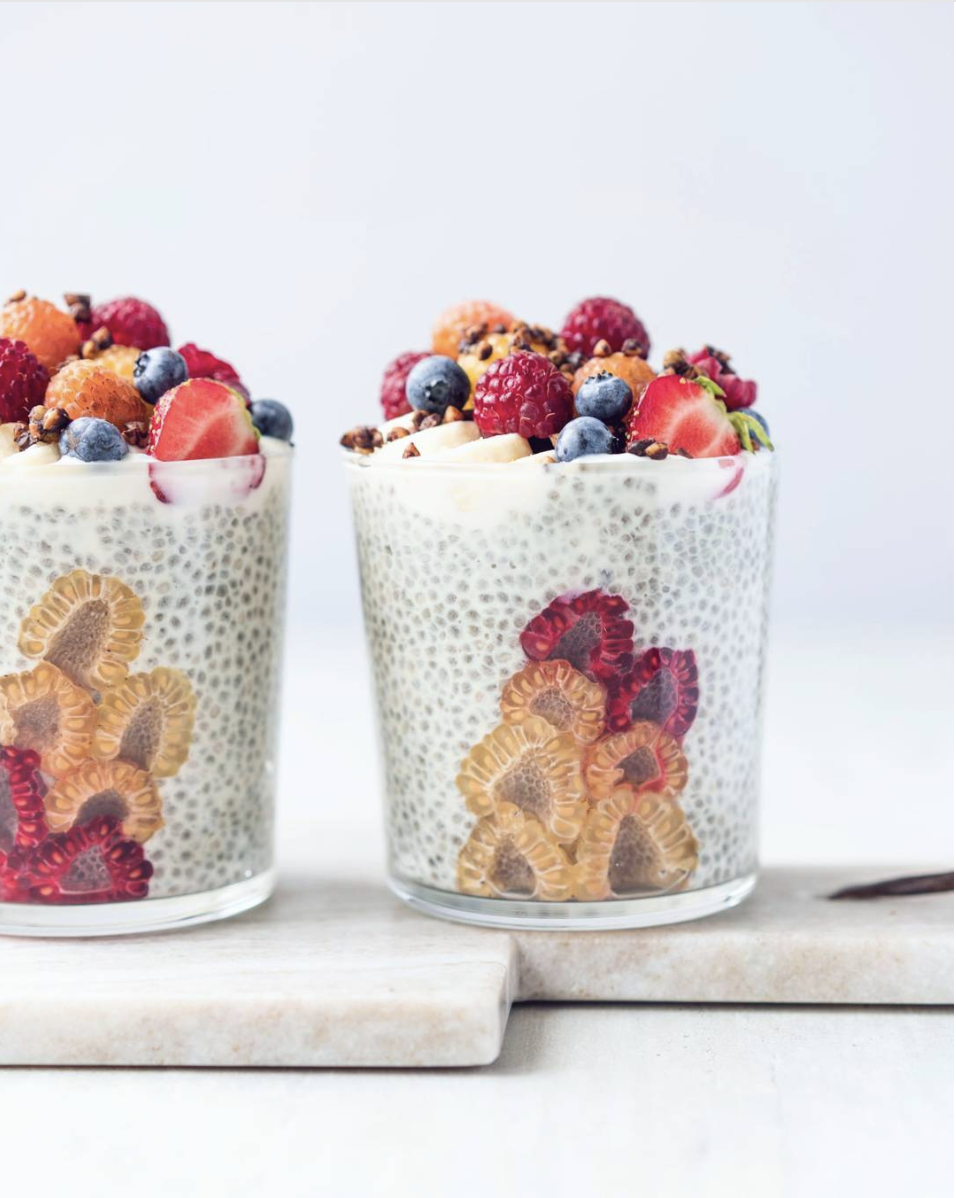 Chia Pudding and Yogurt Parfaits with Raspberries
