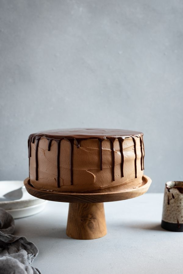 Dark Chocolate Mousse Layer Cake with Chocolate Cream Cheese Frosting
