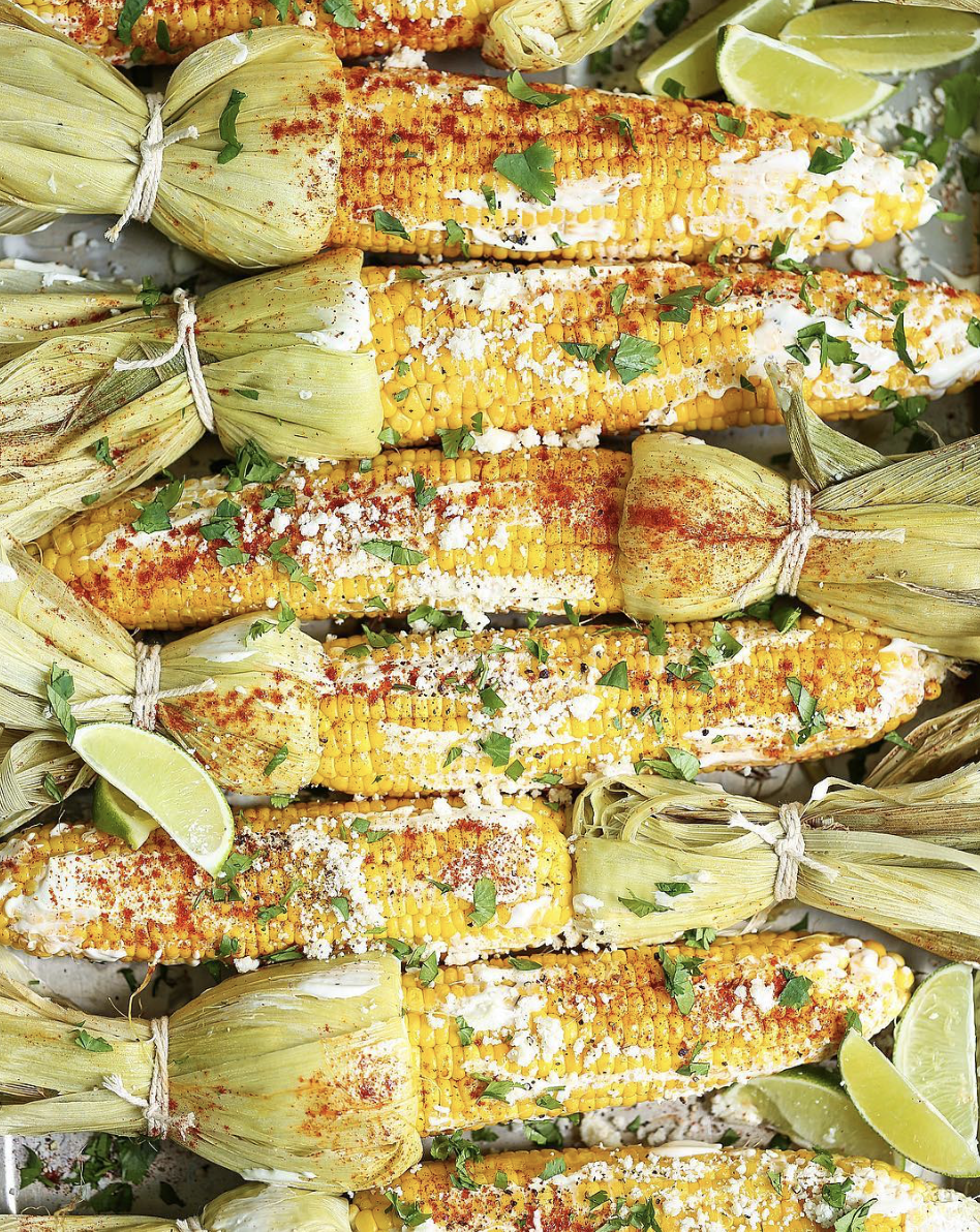 Roasted Mexican Corn with Crumbled Cotija Cheese