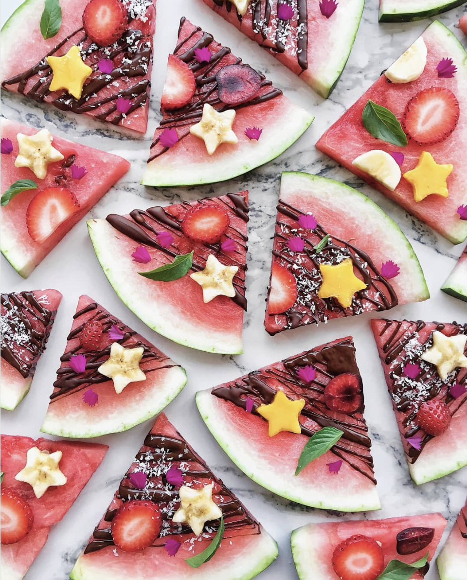 Chocolate Drizzled Watermelon with Fruit Toppings