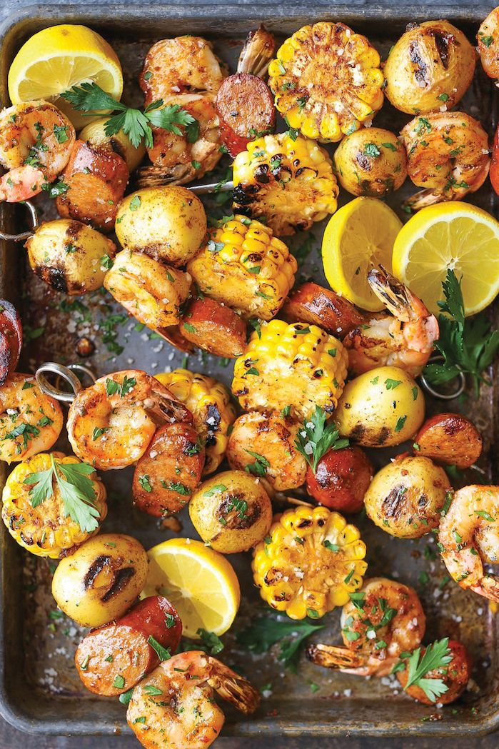 Shrimp, Corn, Potato and Andouille Sausage Kabobs