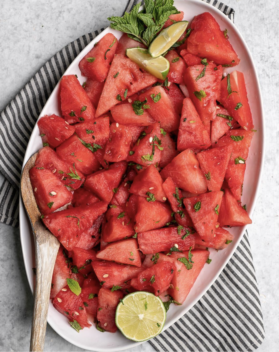 Watermelon Salad with Mint, Lime, and Cayenne