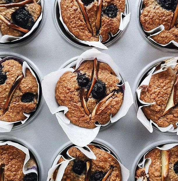 Blueberry Muffins with Sunflower Seeds, Oats & Spelt
