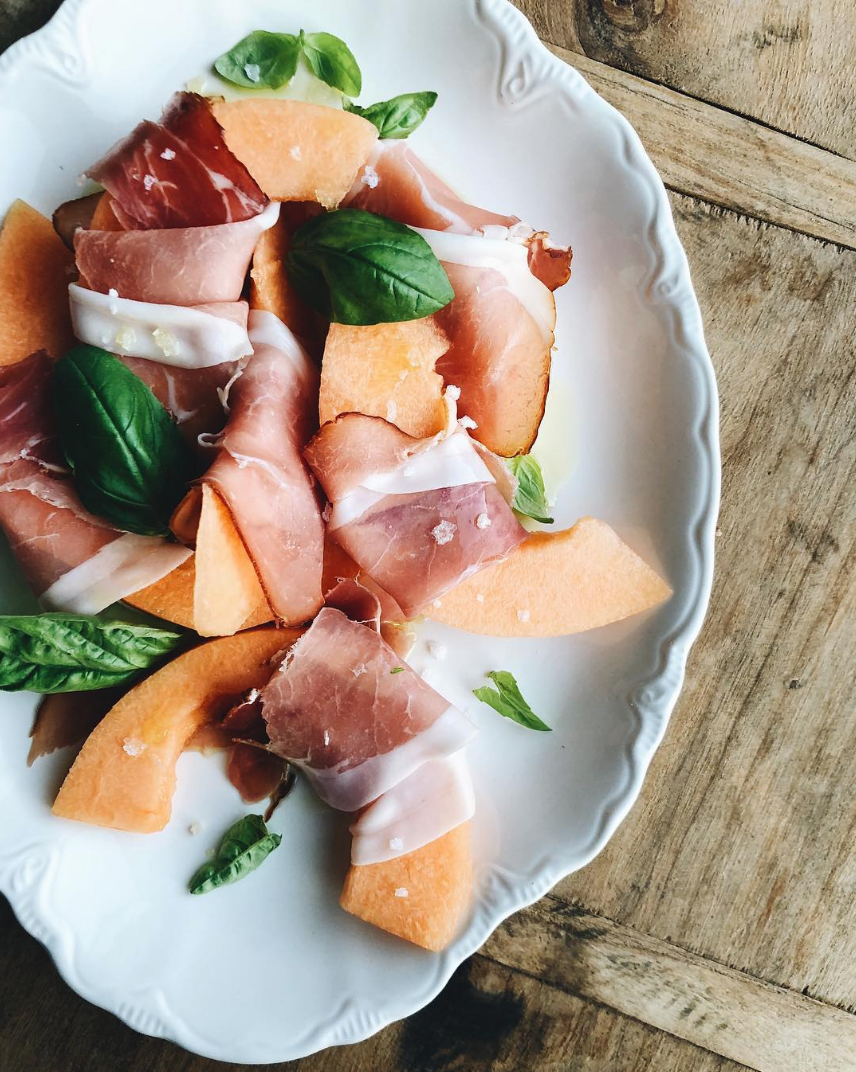 Prosciutto Wrapped Cantaloupe with Basil