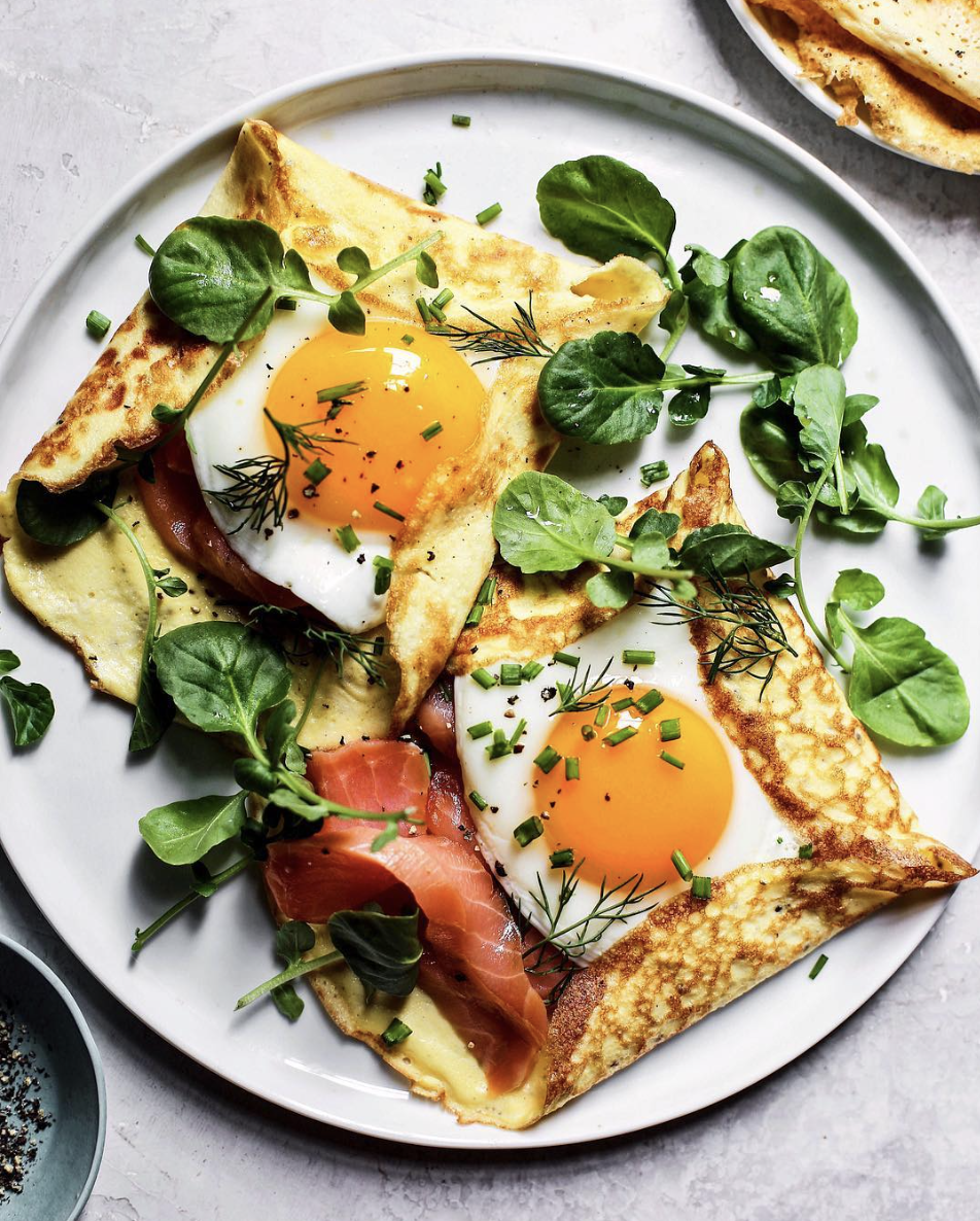 Crepe Pockets with Smoked Salmon, Eggs, and Herbs