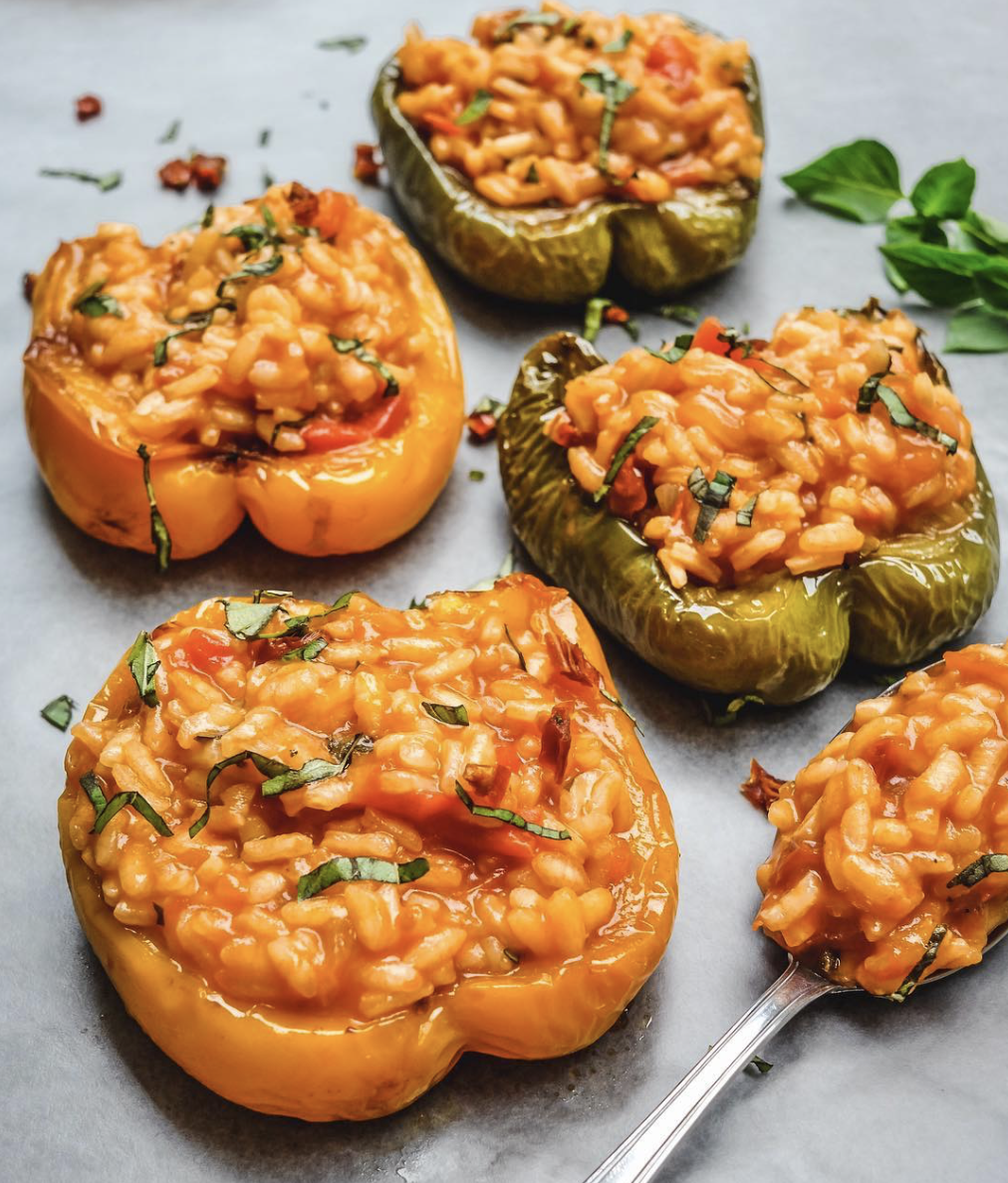 Tomato and Basil Risotto Stuffed Peppers