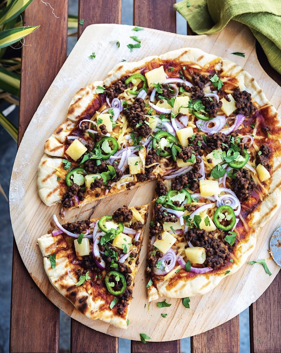 Grilled Lentil Pizza with Pineapple and Jalapeño