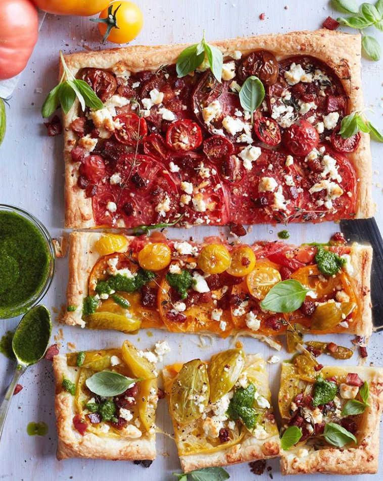 Ombré Tomato Tart with Basil with Feta and Pancetta