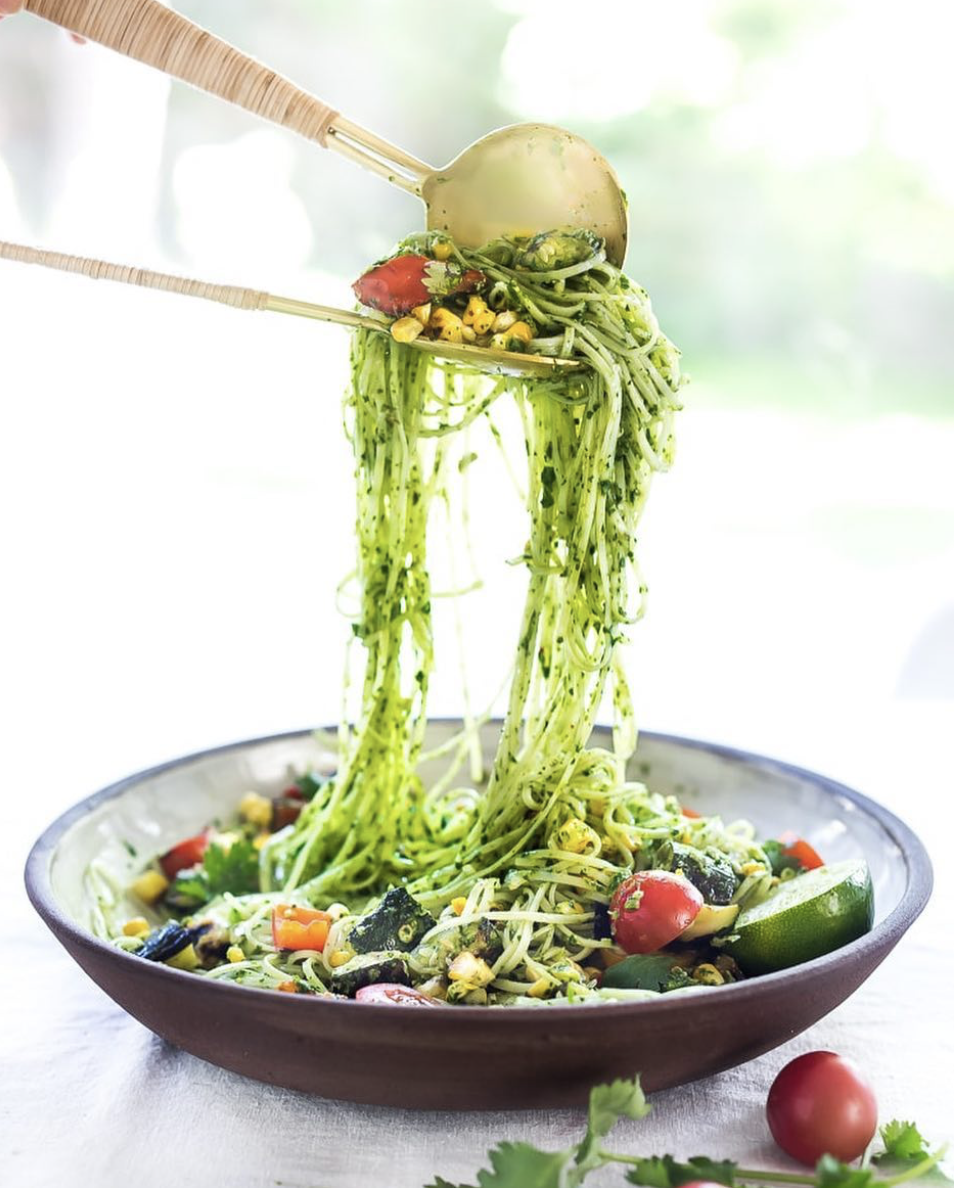 Cilantro Pesto Rice Noodle Salad with Grilled Zucchini and