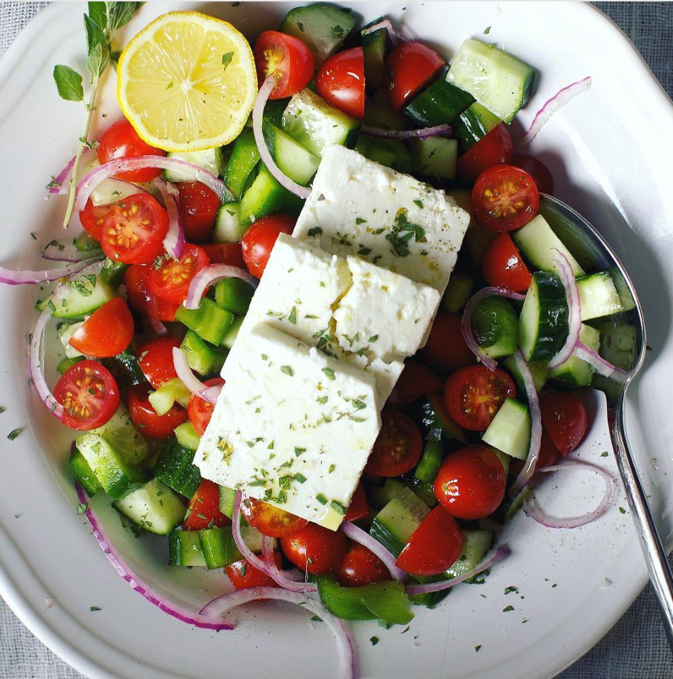 Block Feta Greek Salad With Tomatoes And Cucumber Recipe