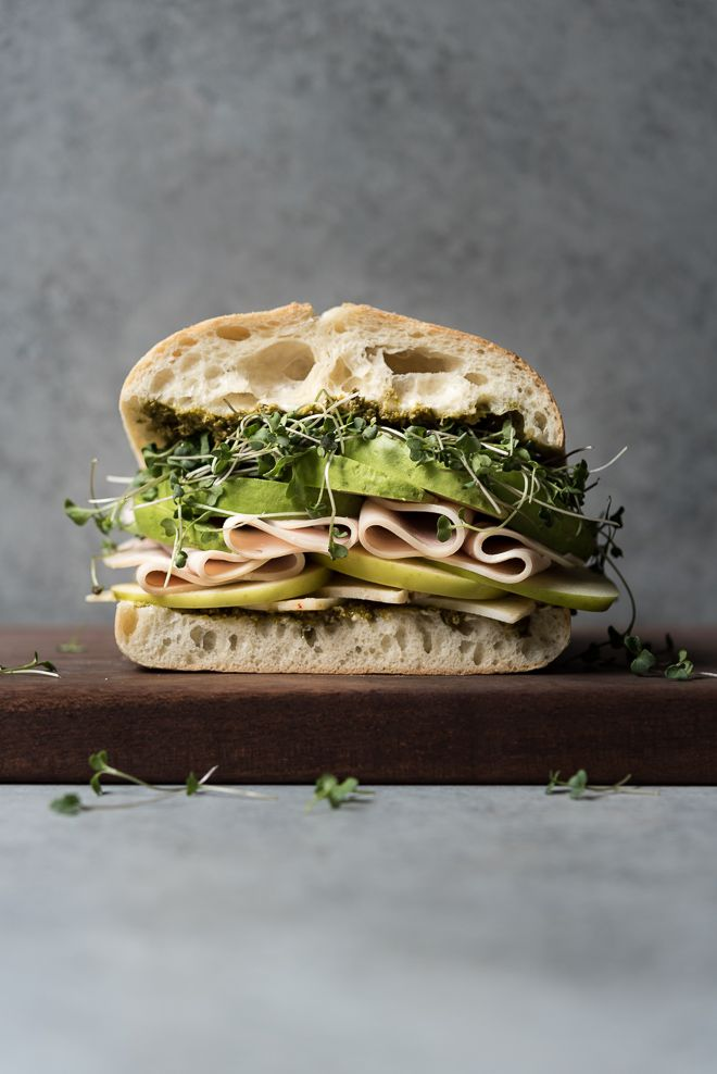 Turkey, Cheese and Avocado with Greens Sandwich