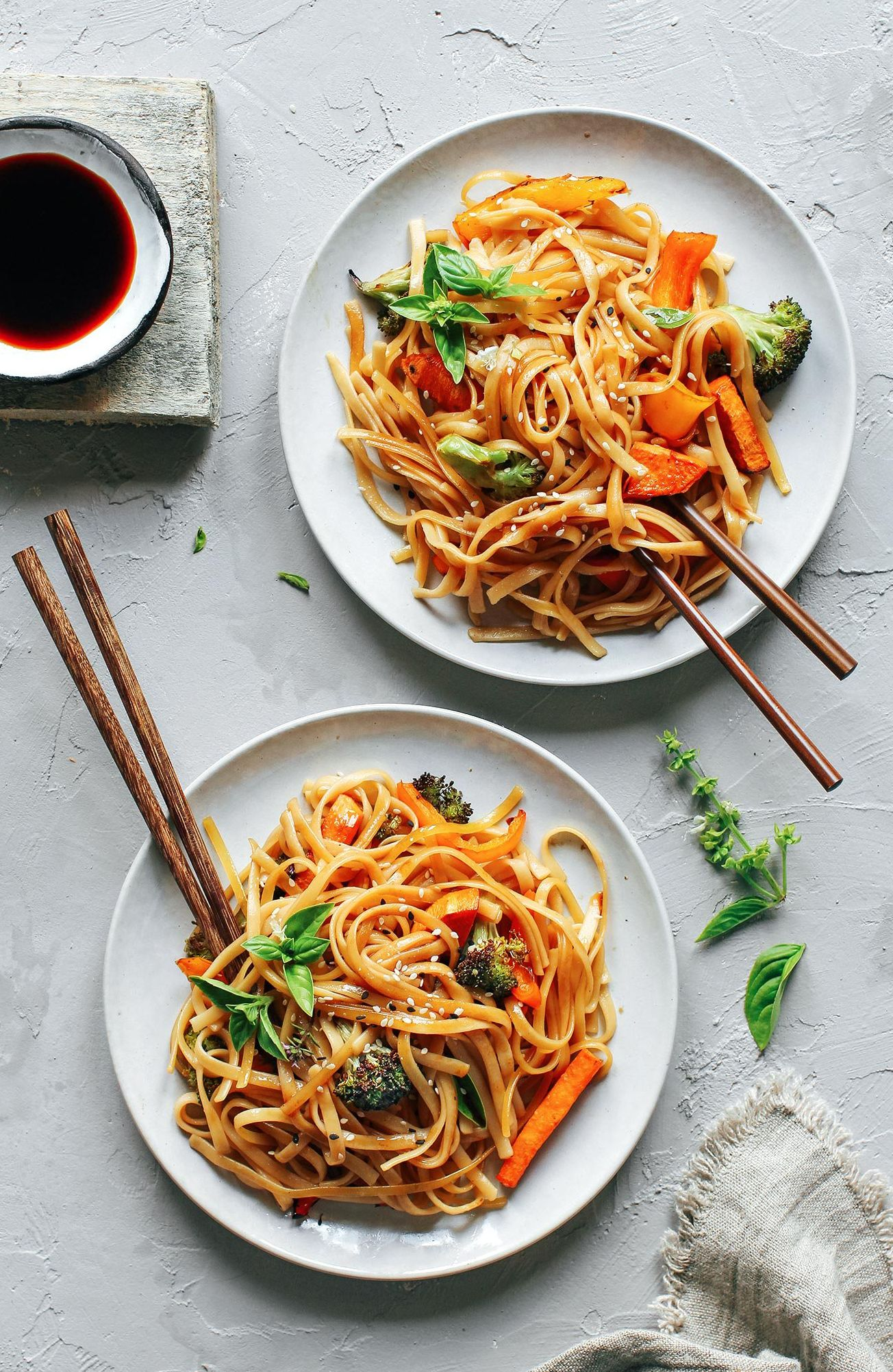 Sesame Noodles with Sweet Potato and Peppers
