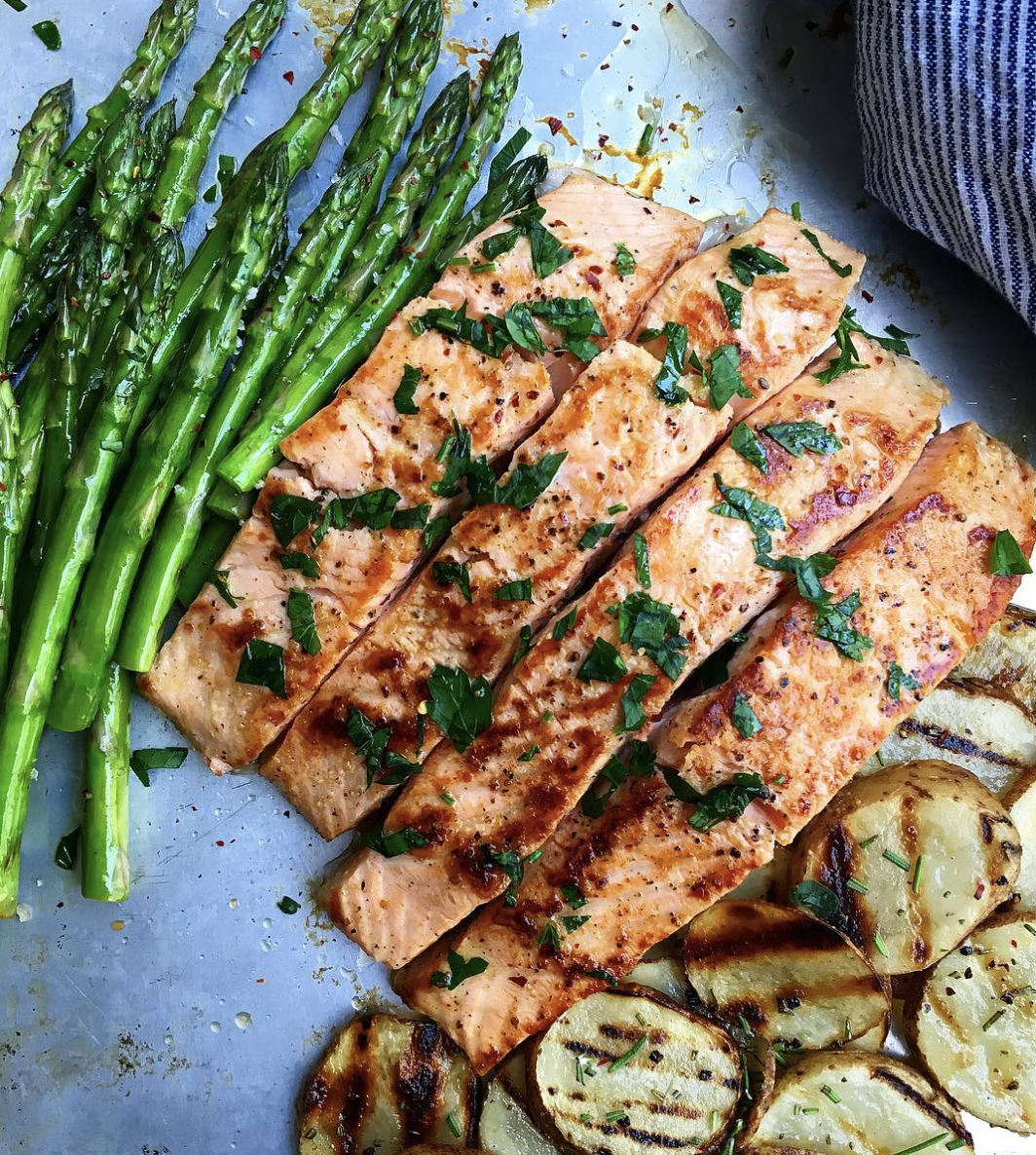 Seared Salmon with Grilled Asparagus and Potatoes