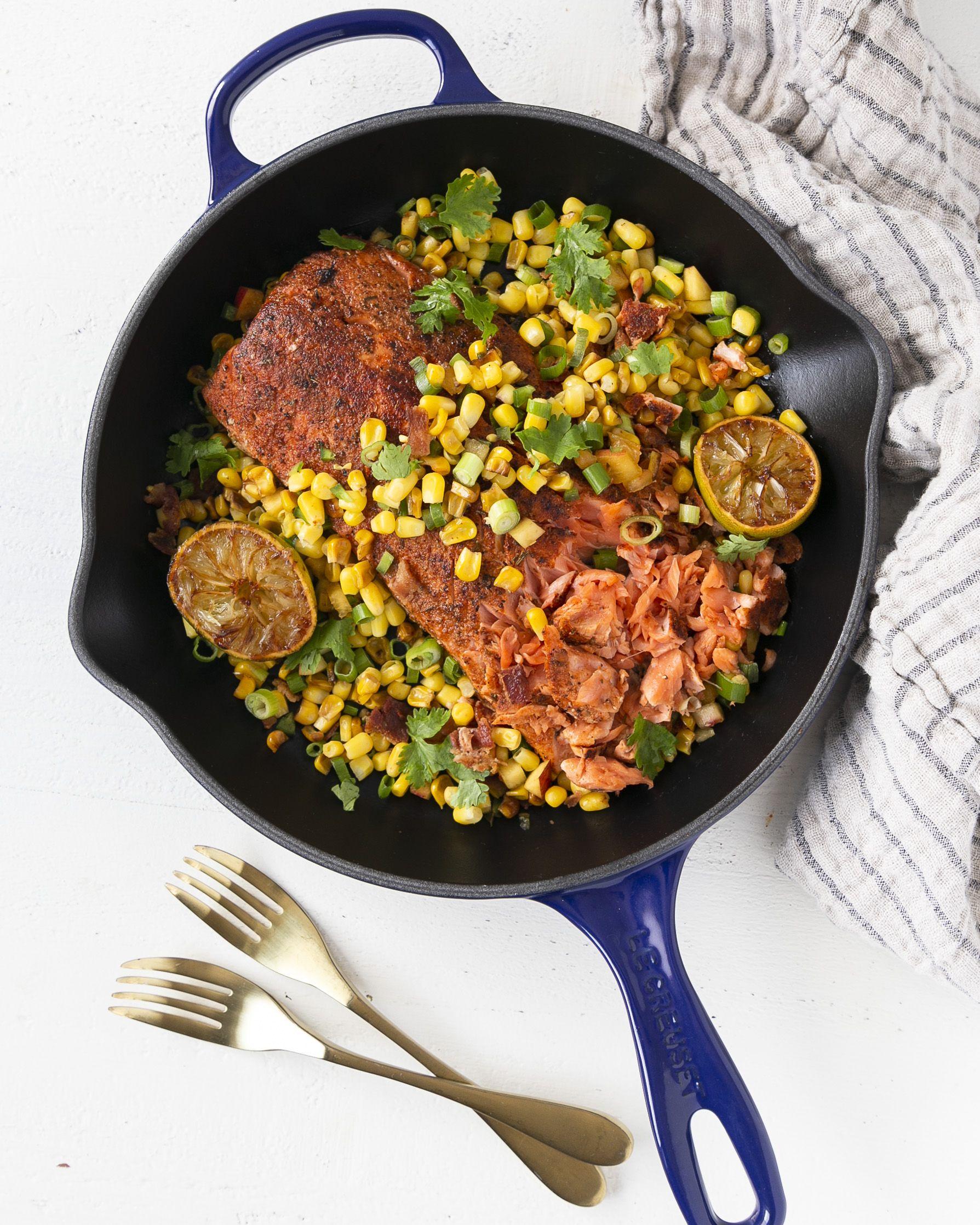 Seared Cajun Salmon with Bacon, Corn & Nectarines
