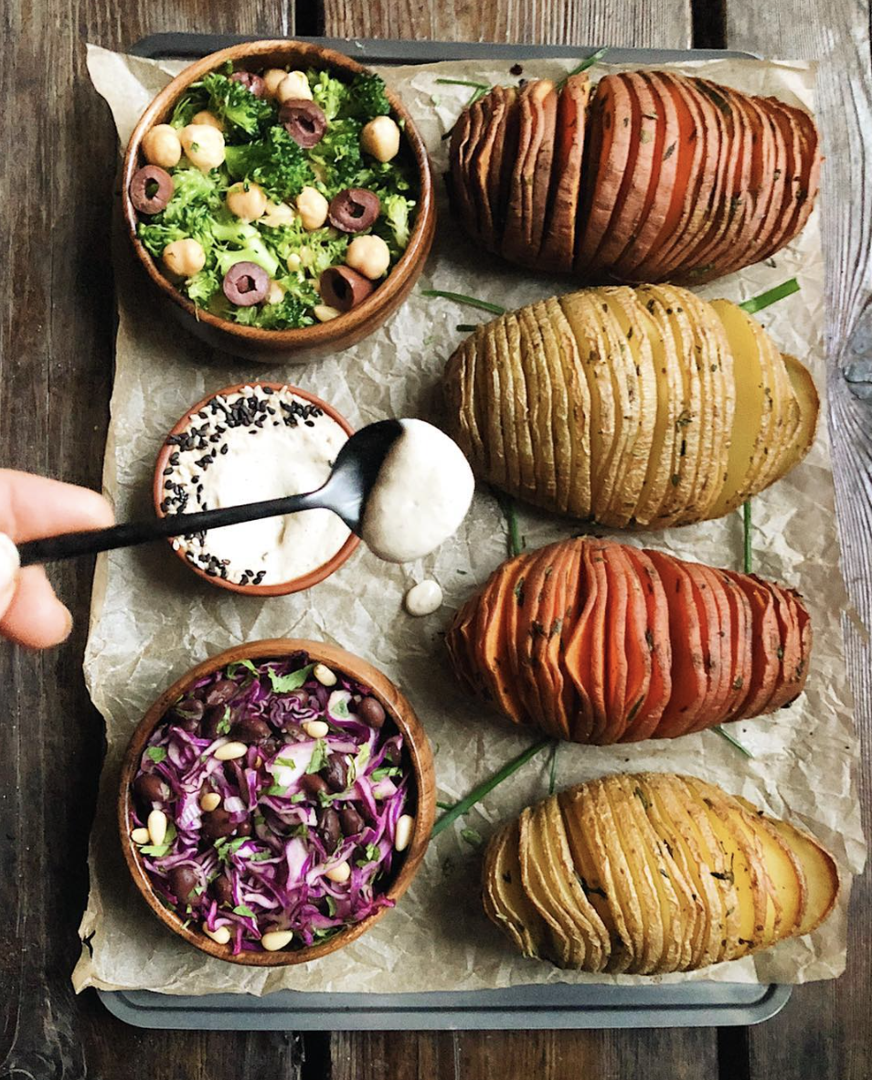Roasted Hasselback Potatoes with Vegan Sour Cream and Cabbage Salad