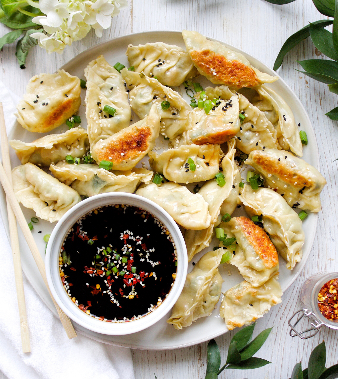 Vegetable Dumplings with Maple Soy Dipping Sauce