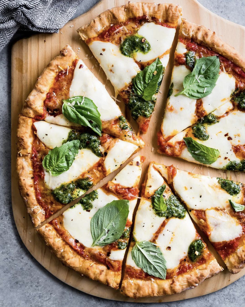 Tapioca and Cheese Pizza Crust with Mozzarella and Pesto