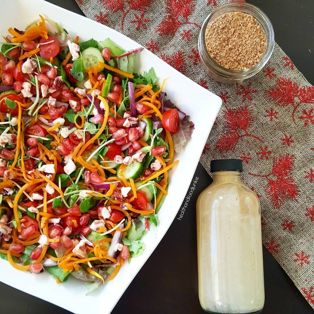 Pomegranate-Butternut Squash Green Salad with Winter Spice Dressing