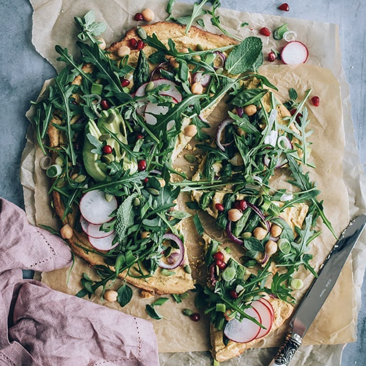 Chickpea Pizza with Asparagus and Greens