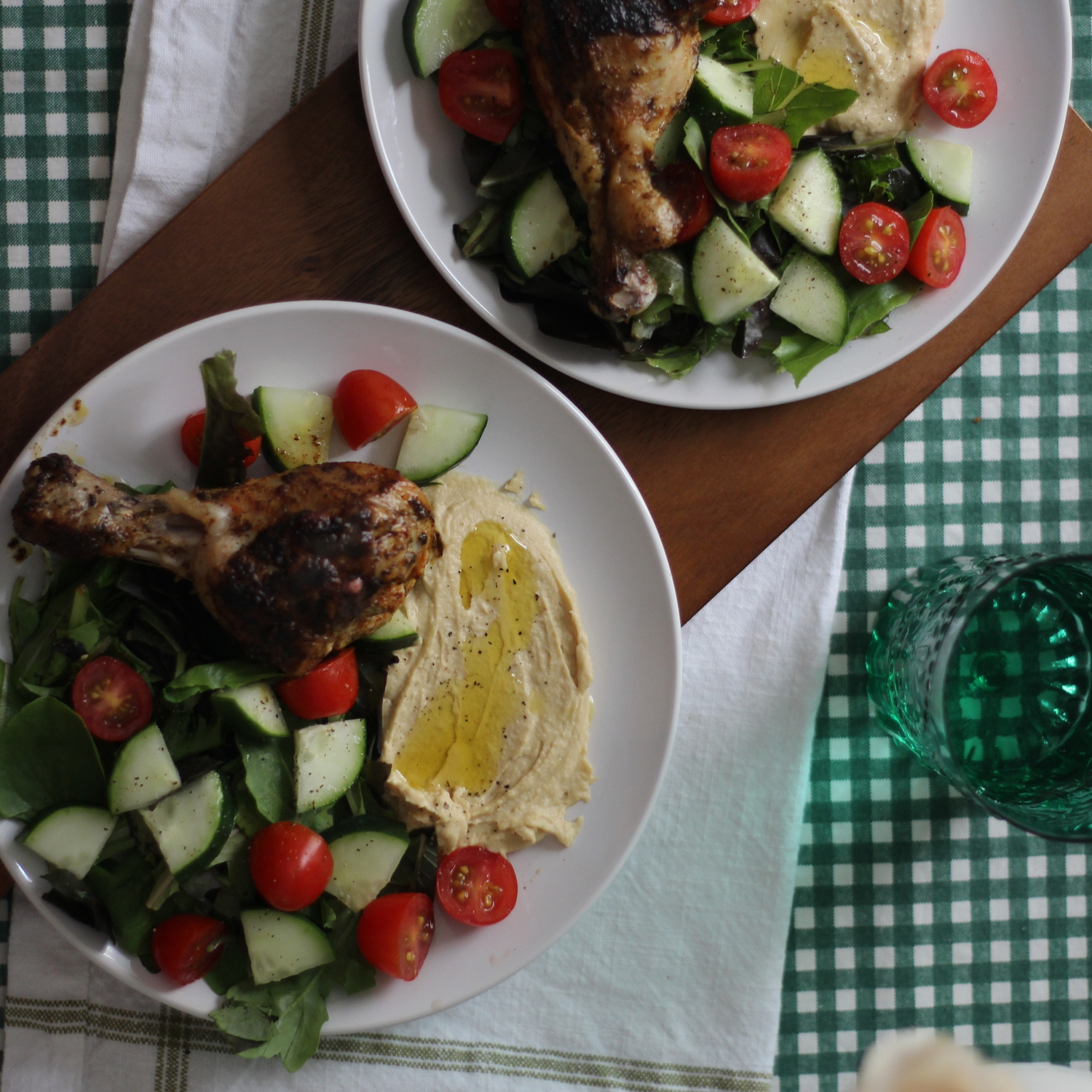 Spiced Chicken With Hummus And Tomato Cucumber Salad
