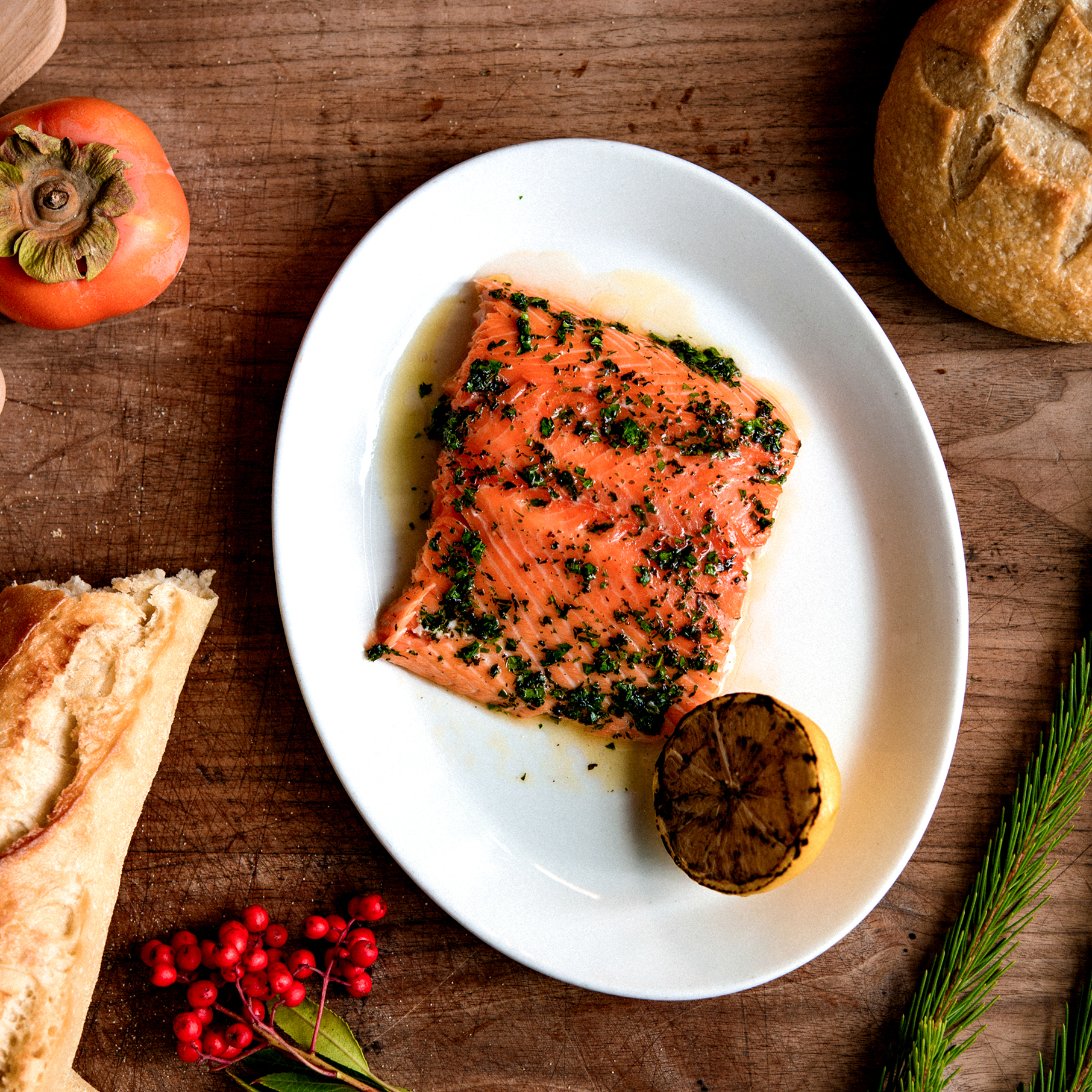 Roasted Salmon With Vibrant Herb Sauce
