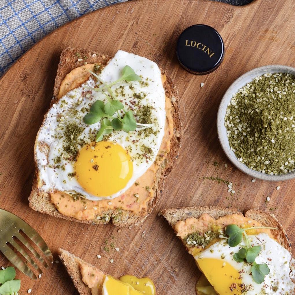Olive Oil Fried Eggs And Hummus Toast