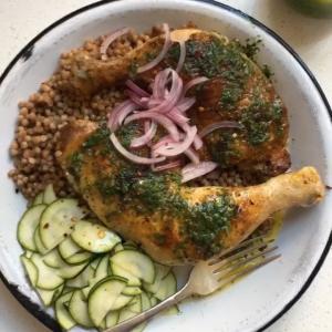 Roast Chicken Legs with Herbed Green Sauce