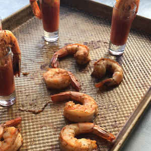 Spicy Bloody Mary Shrimp Shooters