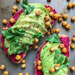 Beet Hummus, Avocado and Crispy Chickpea Toasts