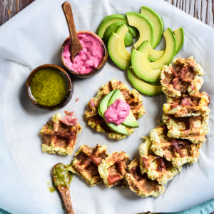 Mini Proscuitto and Cauliflower Waffles