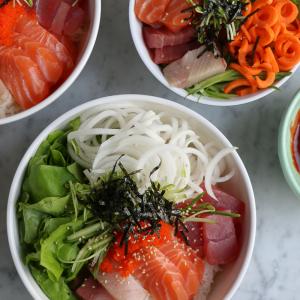 Making Sashimi Rice Bowls