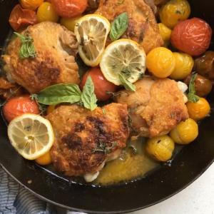 Roast Chicken Thighs w/ Cherry Tomatoes